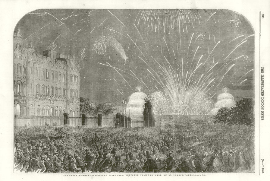 Associate Product Crimean War Peace Commemoration. Fireworks from the Mall. St. James's Park 1856
