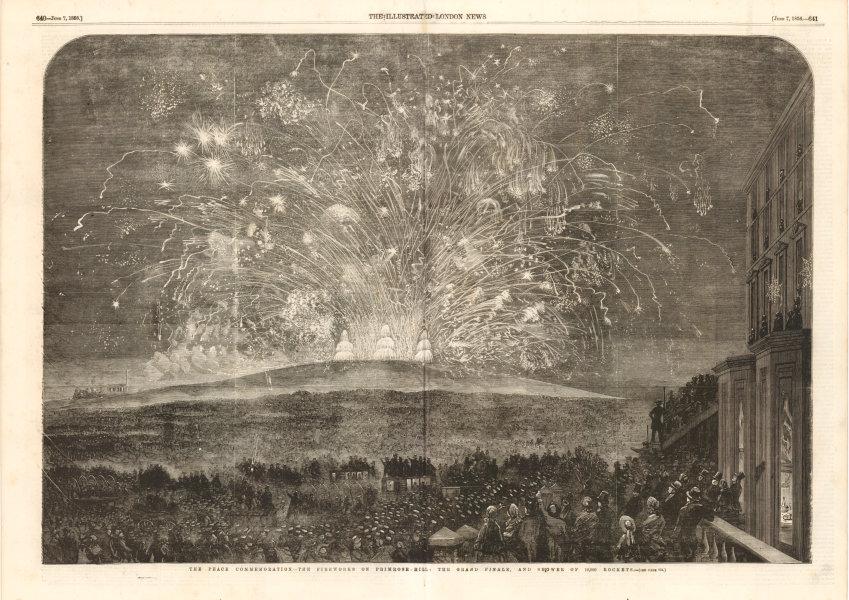 Associate Product Crimean War Peace Commemoration. Fireworks on Primrose Hill. London 1856