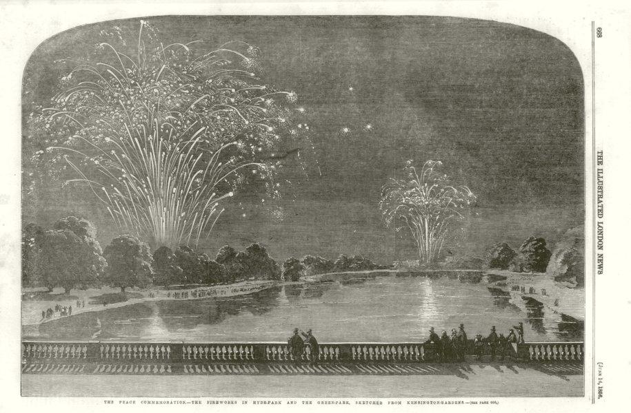 Associate Product Crimean War Peace Commemoration. Hyde Park & Green Park fireworks. London 1856