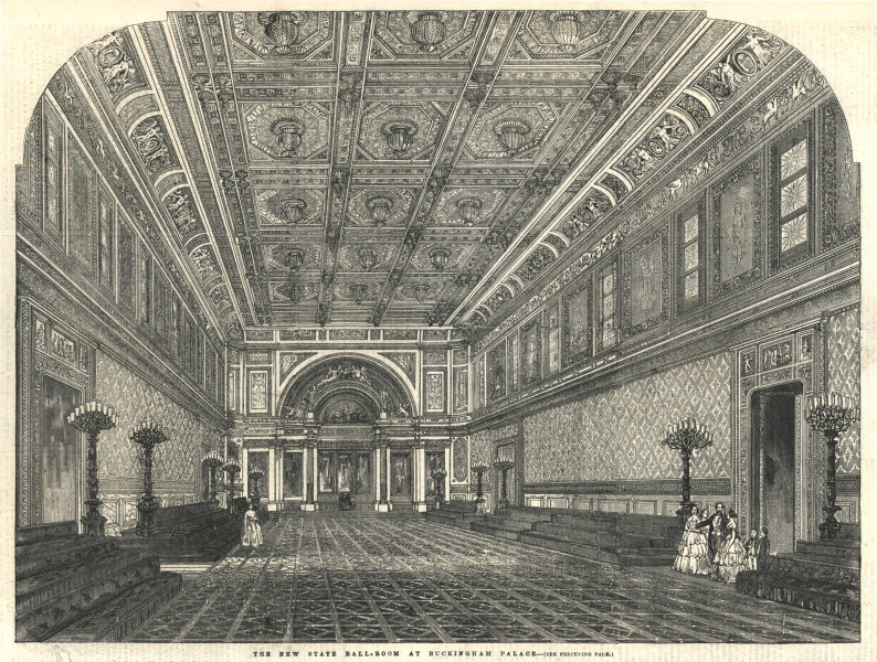 Associate Product The new state ballroom at Buckingham Palace. London 1856 antique ILN full page