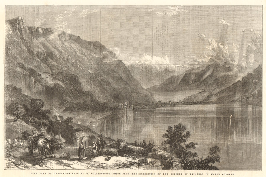 Associate Product The lake of Geneva - by W. Collingwood Smith. Switzerland 1856 ILN full page