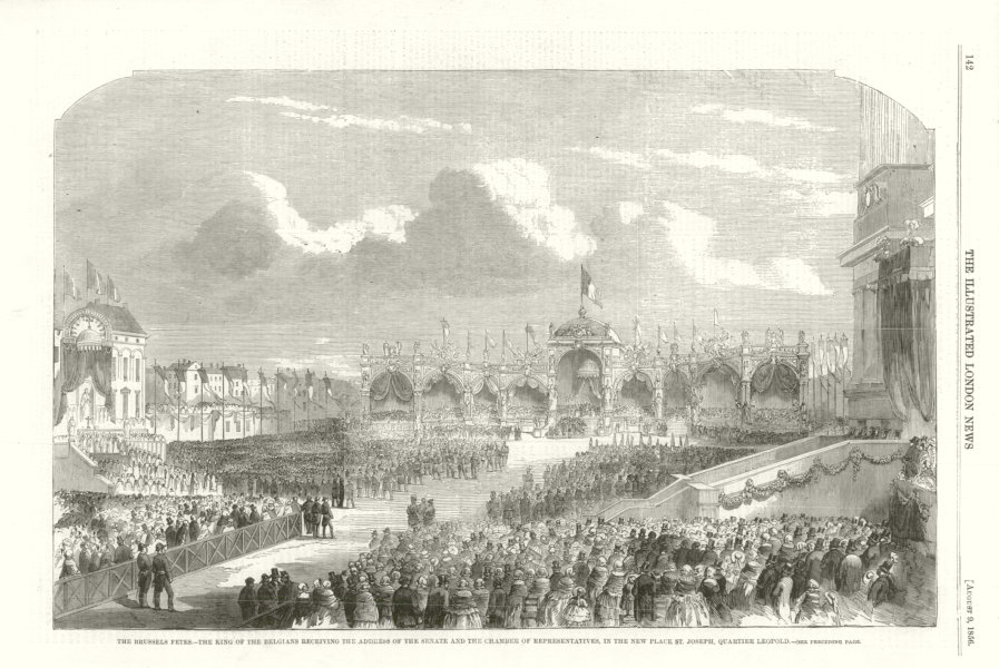 Associate Product King of Belgium in the New Place St. Joseph, Quartier Leopold 1856 ILN print