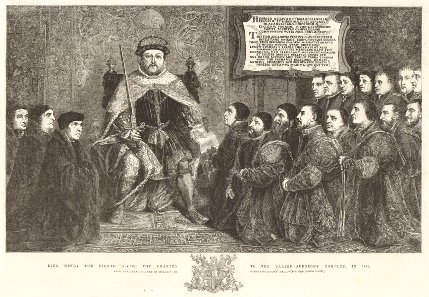 Associate Product Henry VIII giving charter to the Barber-Surgeons' Company, 1541. Holbein 1856