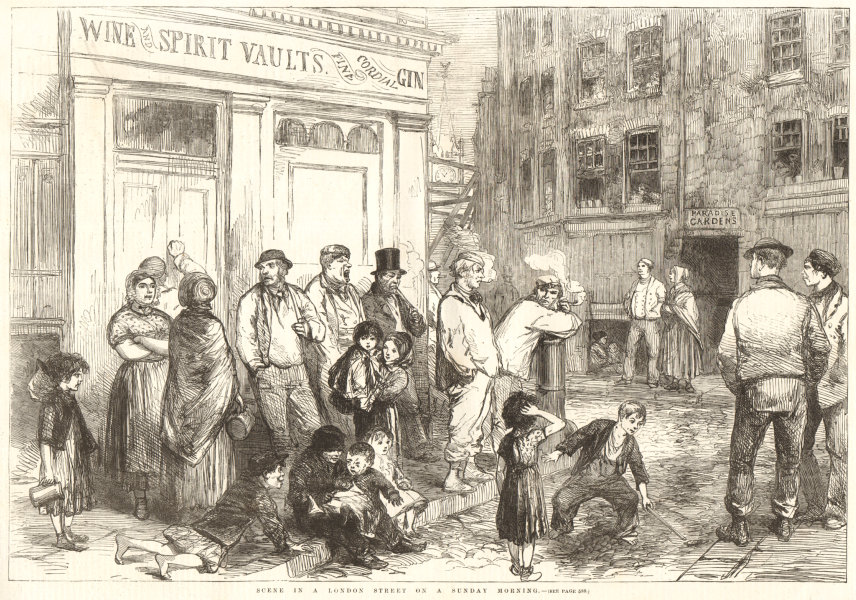 Associate Product Lambeth High Street. Paradise Gardens. London Sunday morning 1856 ILN print