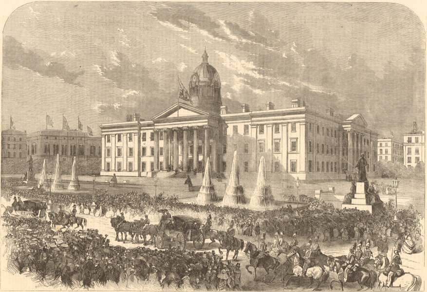 Associate Product Queen Victoria's procession passing the infirmary, Manchester 1857 ILN print
