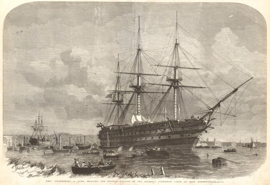 Associate Product HMS Agamemnon shipping the Atlantic submarine Cable at east Greenwich 1857