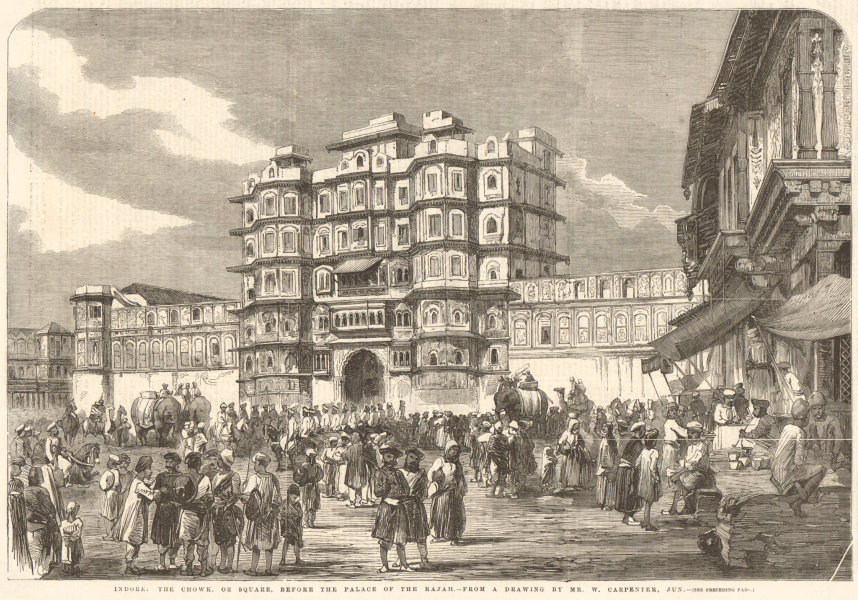 Associate Product Indore: the chowk or square & Rajwada Palace. India 1857 antique ILN full page