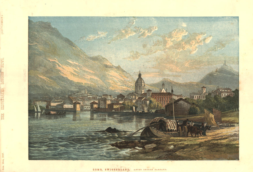 Associate Product Como, Switzerland (after George Barnard) . Italy 1857 antique ILN full page