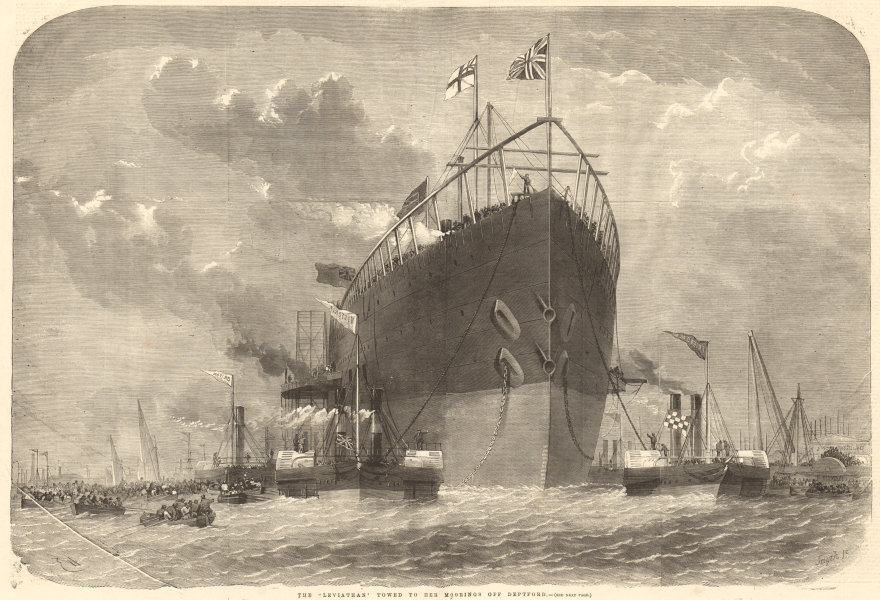 """Associate Product The """"Leviathan"""" towed to her moorings off Deptford. London. Ships 1858"""