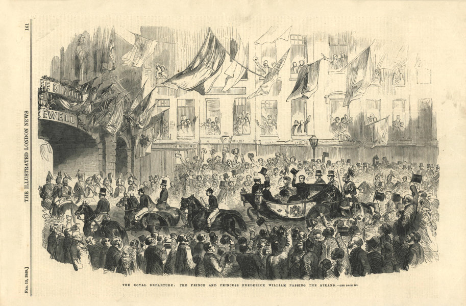 Associate Product The Prince & Princess Frederick William passing the Strand. London 1858