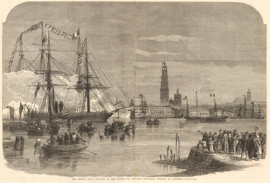Associate Product Prince & Princess Frederick William arriving at Antwerp. Belgium 1858