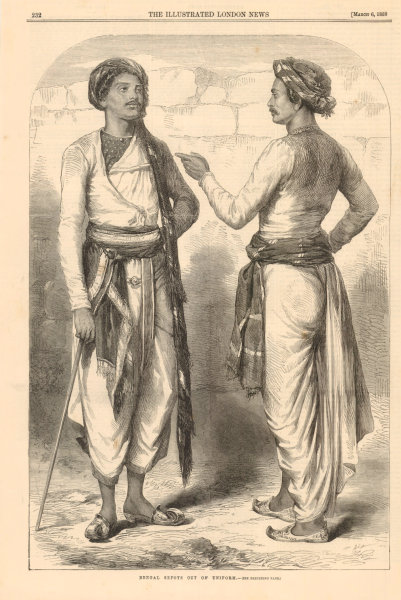 Associate Product Bengal Sepoys out of Uniform. India 1858 antique ILN full page print