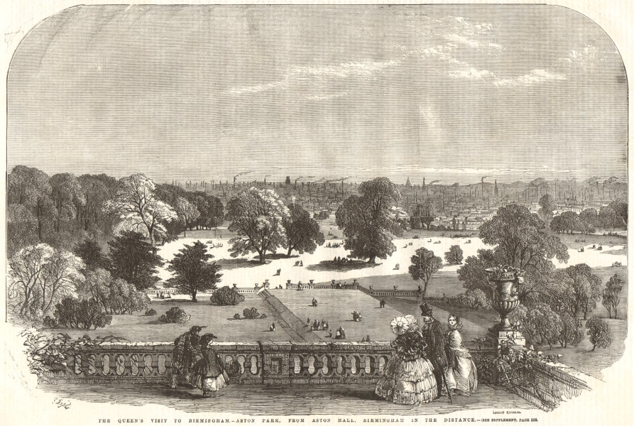 Associate Product Aston Park, from Aston Hall; Birmingham in the distance 1858 antique ILN page