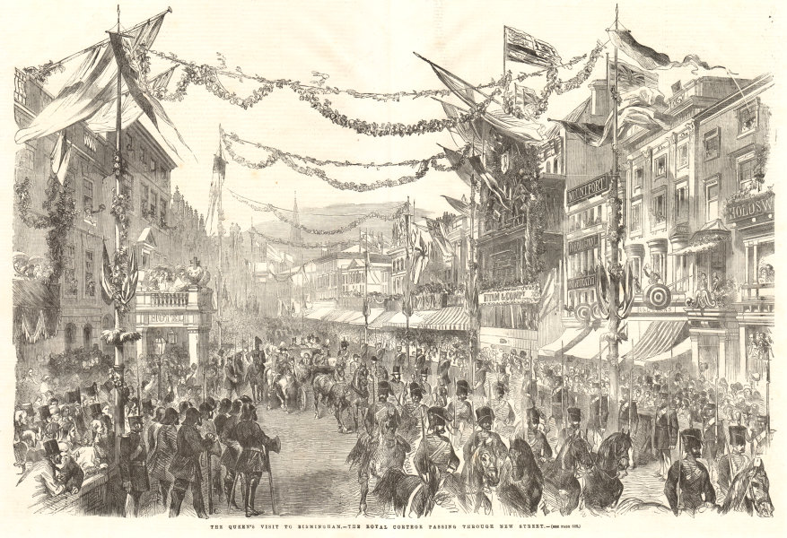 Associate Product Queen Victoria cortege passing through New Street, Birmingham. Warwickshire 1858