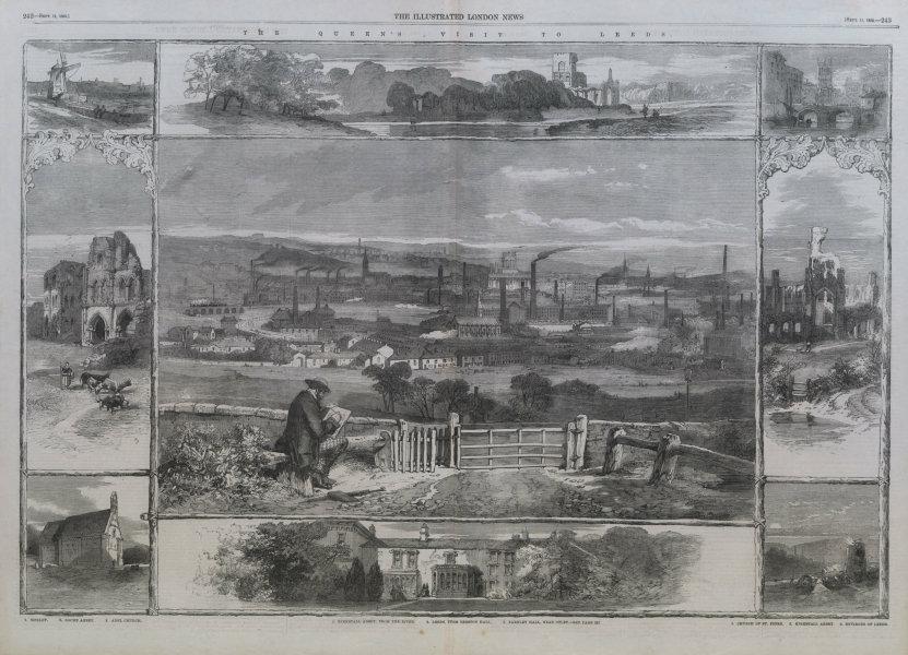 Associate Product Kirkstall Abbey. Leeds, from Beeston Hall. Farnley Hall, Otley. Yorkshire 1858