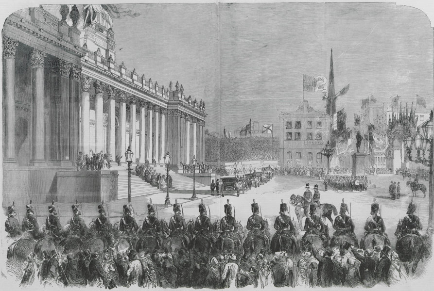 Associate Product Queen Victoria's visit to Leeds. Leaving the town hall. Yorkshire 1858