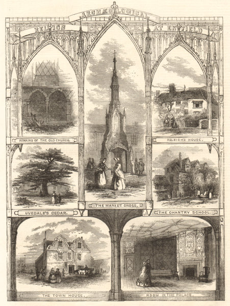 Associate Product Enfield archaelogy church Raleigh House market cross Uvedale cedar Chantry 1858