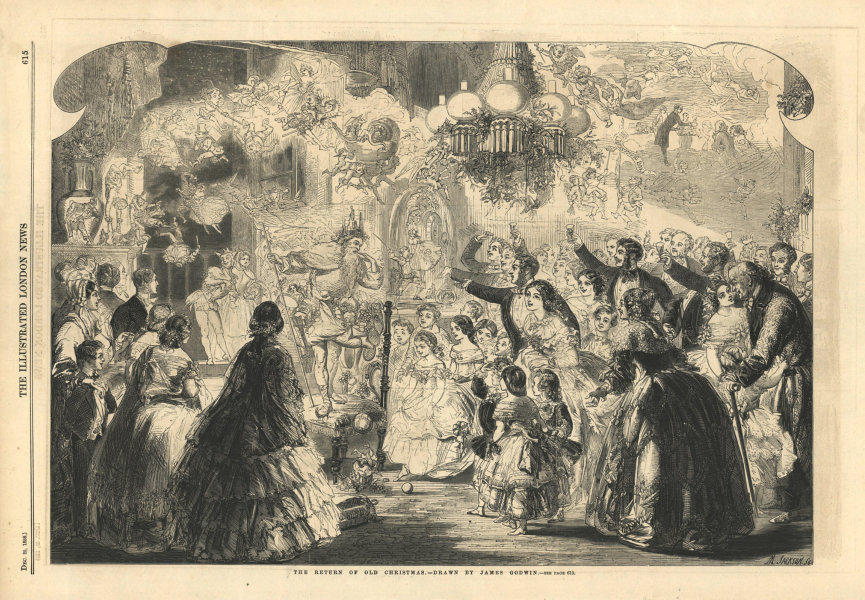 Associate Product The return of old Christmas. Fantasy 1858 antique ILN full page print