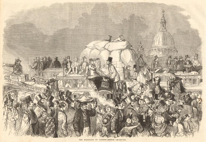 Associate Product The blockade of London Bridge. Society 1859 antique ILN full page print