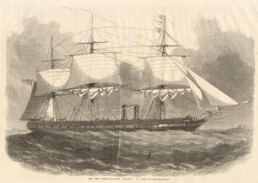 """Associate Product The new steam-frigate """"Mersey"""", 40 guns. Lancashire. Ships 1859 ILN full page"""