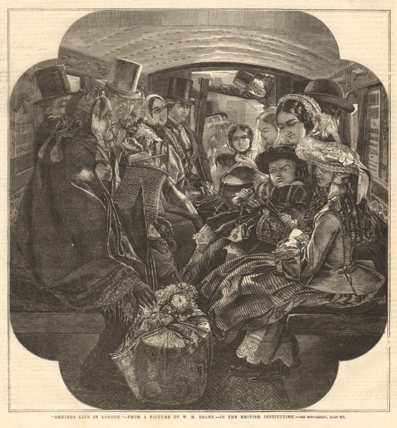 Associate Product Omnibus life in London - from a picture by W. M. Egley. Transport 1859