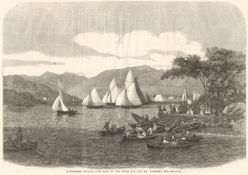 Associate Product Windermere Regatta. The race on the 3rd day for Mr. Aufrere's Cup. Cumbria 1859