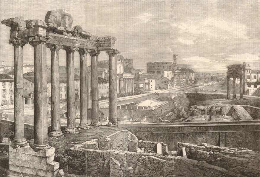 Associate Product Ruins of the Temple of Saturn, Rome 1859 antique ILN full page print