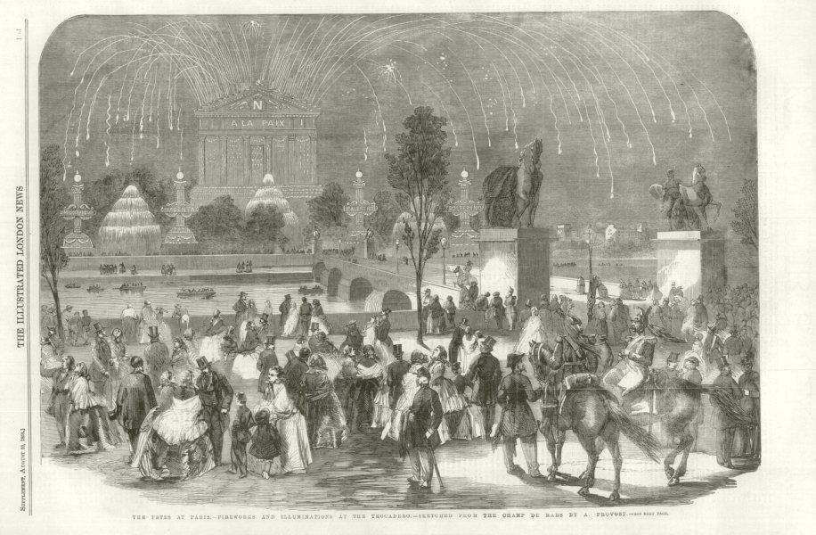Associate Product The Fetes at Paris - Fireworks & Illuminations at the Trocadero 1859 ILN print