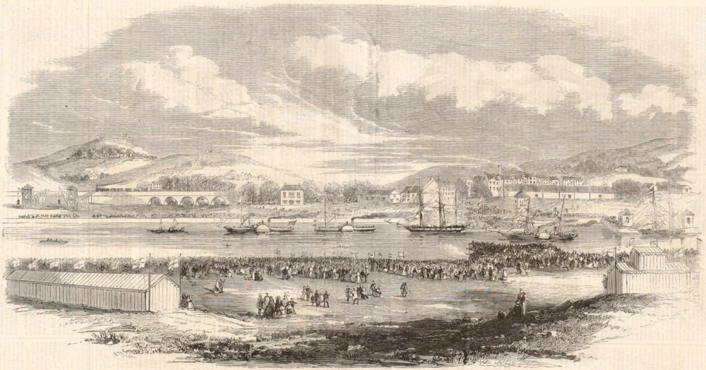 Associate Product Opening of the new Docks at Swansea. Wales 1859 antique ILN full page print