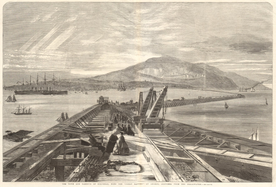 """Associate Product Holyhead, with the """"Great Eastern"""" at anchor, from the Breakwater. Wales 1859"""