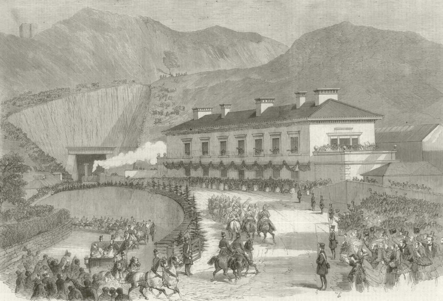 Associate Product Queen Victoria's visit to North Wales - Departure from Bangor 1859 ILN print
