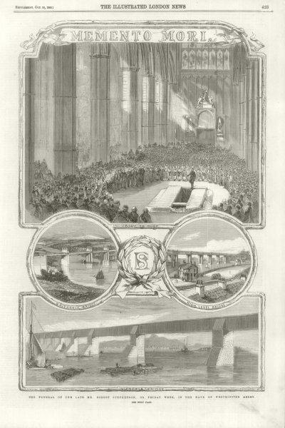 Associate Product Robert Stephenson funeral Westminster Abbey Britannia High Level bridge 1859