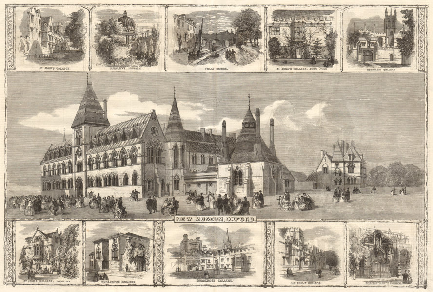 Associate Product Oxford University Museum of Natural History. OUMNH 1859 antique ILN full page