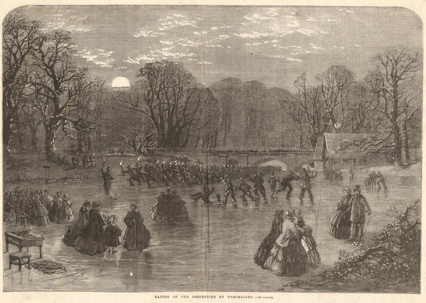 Associate Product Skating on the Serpentine by torchlight. London. Winter sports 1859 ILN print