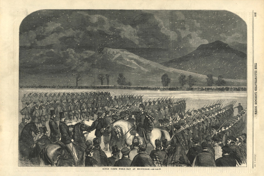 Associate Product Rifle Corps field-day at Edinburgh. Scotland. Militaria 1860 antique ILN page