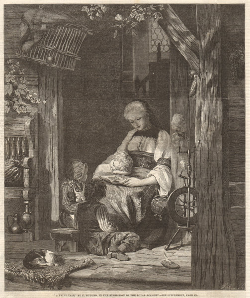 """Associate Product """"A fairy tale"""" by F. Wyburd. Family. Fine Arts 1860 antique ILN full page print"""