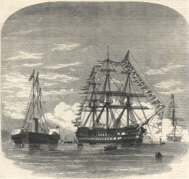Associate Product Prince of Wales (Edward VII) embarking HMS Hero at Plymouth for Canada 1860