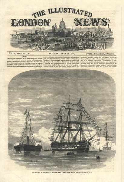 Prince of Wales (Edward VII) embarking HMS Hero at Plymouth for Canada 1860