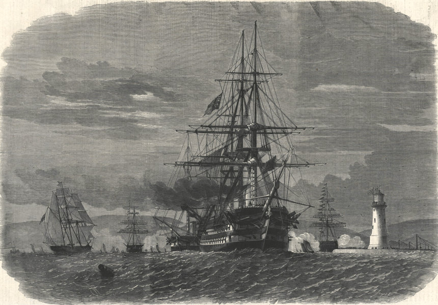 Associate Product Prince of Wales (Edward VII) departing Plymouth Sound for Canada. Devon 1860