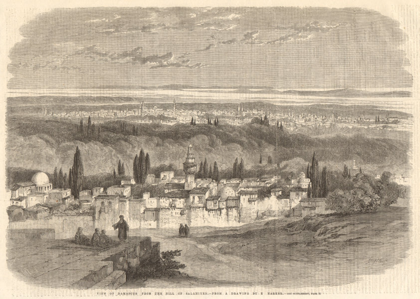 Associate Product View of Damascus, from the hill of Salahieh, by E. Harker. Syria 1860