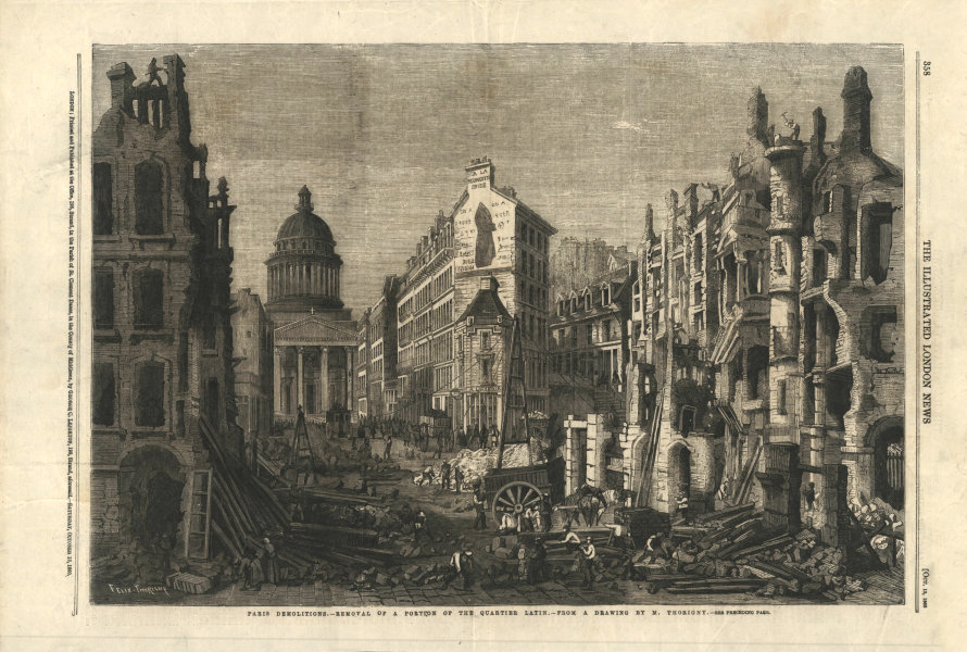 Associate Product Paris demolitions - removal of a portion of the Quartier Latin 1860 ILN print