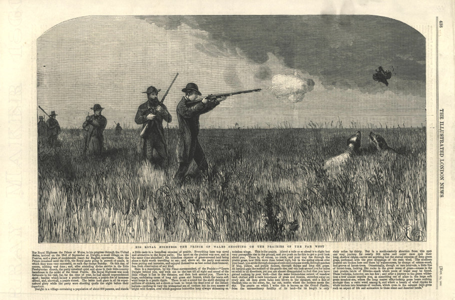 Associate Product Prince of Wales (Edward VII) shooting on the far west prairies. Canada 1860