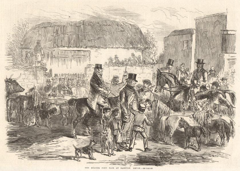 Associate Product The Exmoor pony fair at Bampton, Devon. Horses 1860 antique ILN full page print