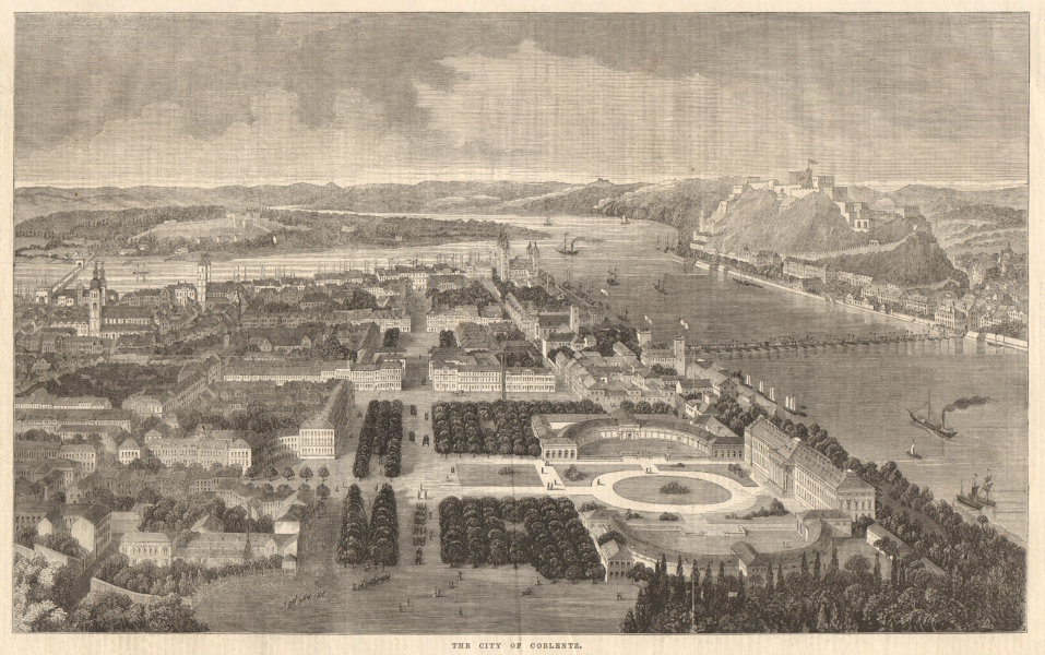 Associate Product The city of Coblenz. Germany 1860 antique ILN full page print