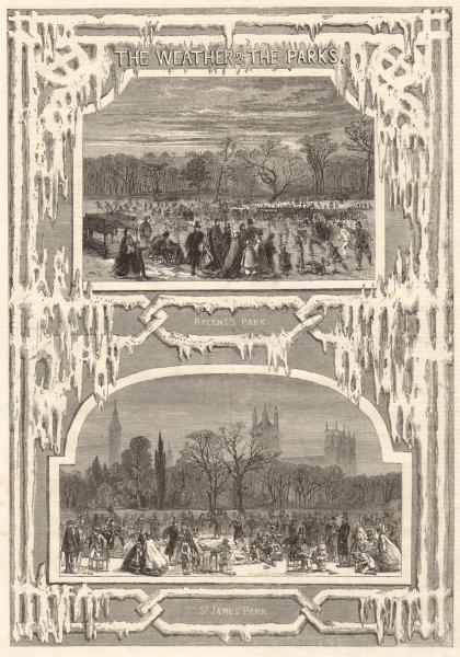 Associate Product The weather & the parks. Regents Park. St James's park. London 1861 ILN print