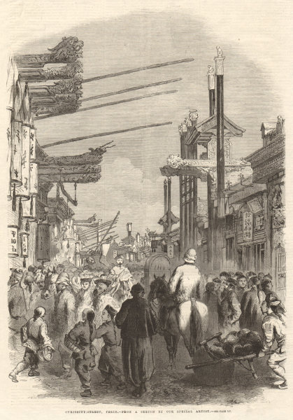 Associate Product Curiosity Street, Peking Beijing. China 1861 antique ILN full page print