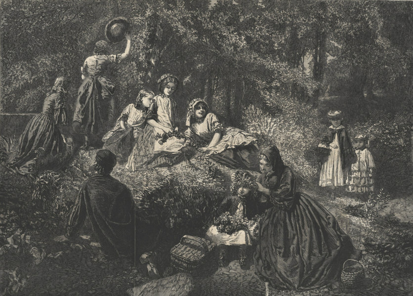"""Associate Product """"Holiday in the woods"""". Family 1861 antique ILN full page print"""