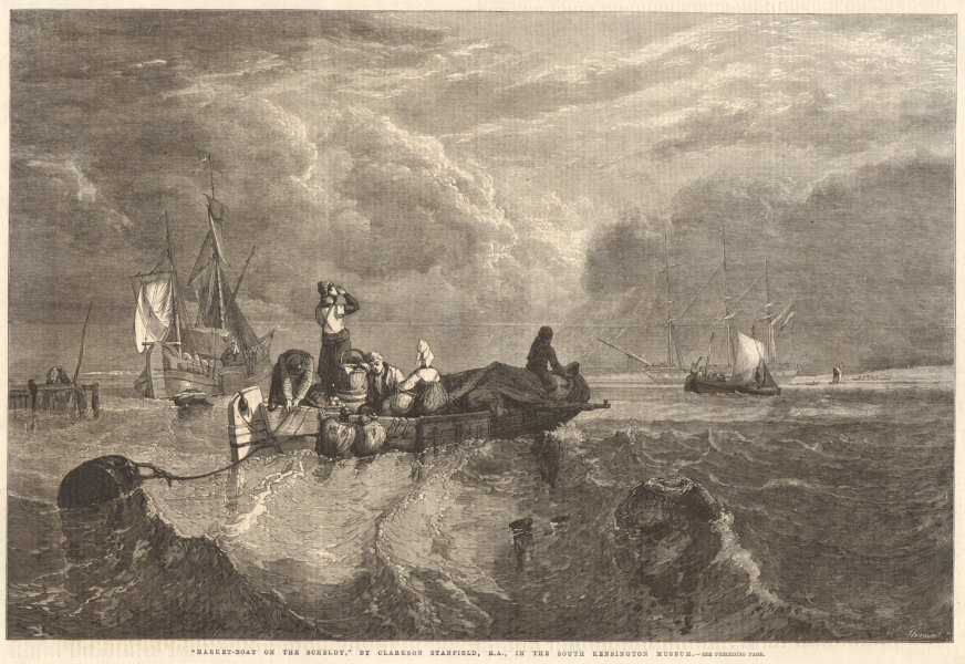 """Associate Product """"Market boat on the Scheldt"""" by Clarkson Stanfield, R. A. 1861 ILN full page"""