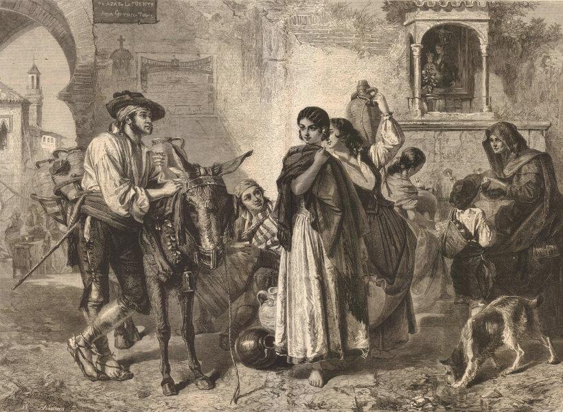 """""""Gossips at a Well"""", Royal Academy Exhibition. Plaza de la Fuente. Spain 1861"""
