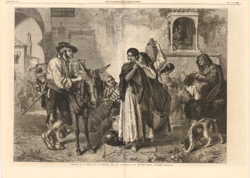 "Associate Product ""Gossips at a Well"", Royal Academy Exhibition. Plaza de la Fuente. Spain 1861"
